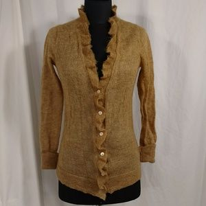 J Crew Light Mohair Cardigan Sweater Ruffle Gold